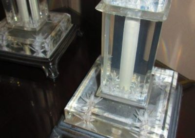 Detail of lucite lamps