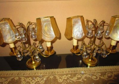 Pair of brass mantle lamps with Crystal prisms
