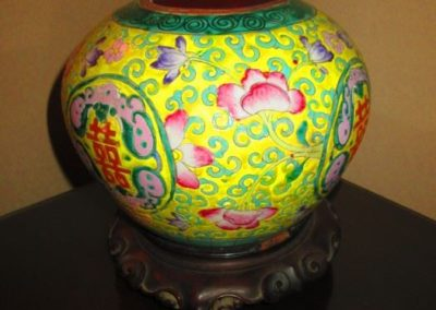 Chinese pot with wooden lid and stand