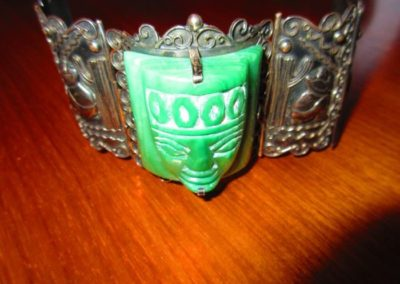 Extremely large carved Jade and Mexican silver bracelet