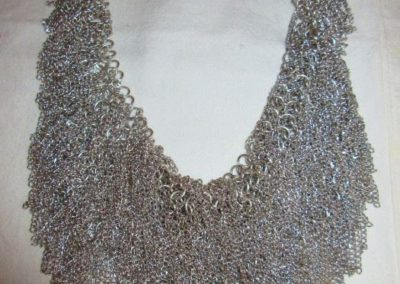 Silver toned mesh bib necklace