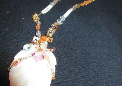Shell & art glass beaded necklace