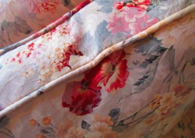 Detail of fabric on silk sofa