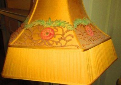 Detail of silk shade on 1920s floor lamp