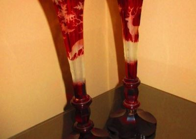 Pair of Ruby cut to clear cabinet, hunting motif