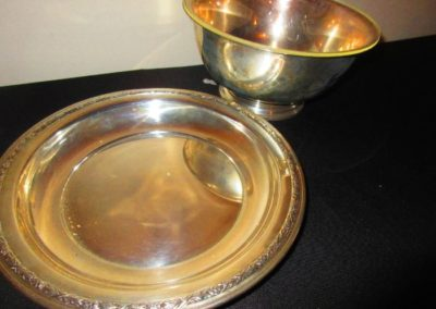 Large Sterling dish and bowl