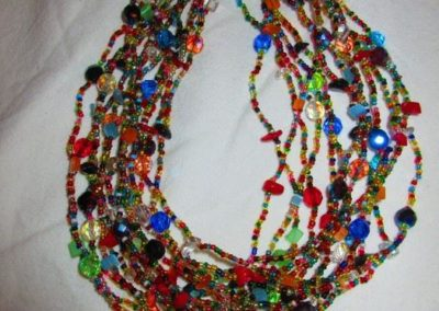 Art glass beaded necklace