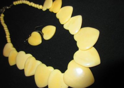 Bone necklace and earrings