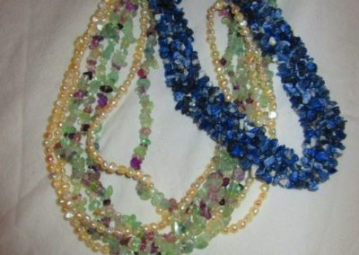 Gemstone and pearl necklaces