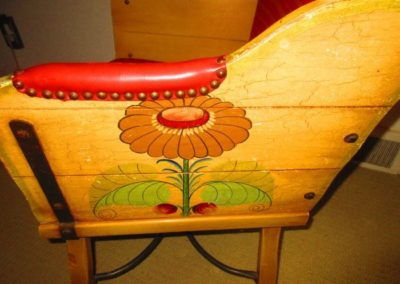 Detail of painting on 1940s Mexican chair