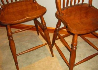 Pair of oak countertop stools
