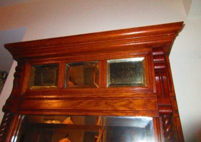 Detail of oak pier mirror