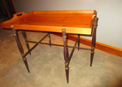 Baker tray table on iron stand