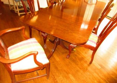 Double pedestal dining table and shield back chairs