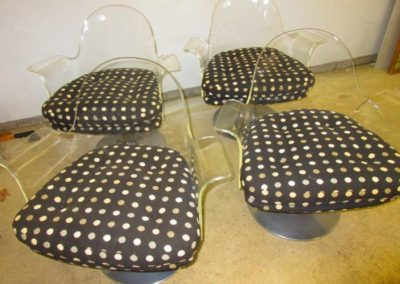 Group of vintage lucite and chrome chairs
