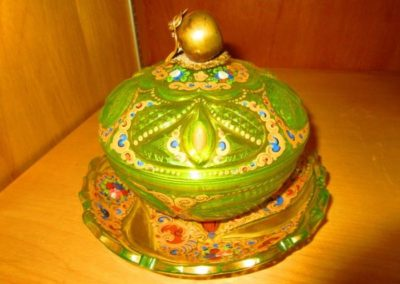 Antique enameled covered dish and under plate with Chinese brass mount