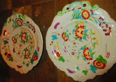 Pair of antique porcelain diminutive platters