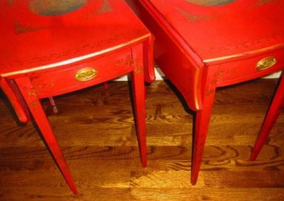 Pair of red lacquered chinoiserie Pembroke tables