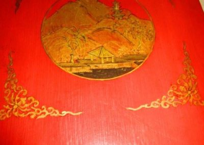 Detail of top of chinoiseries Pembroke tables