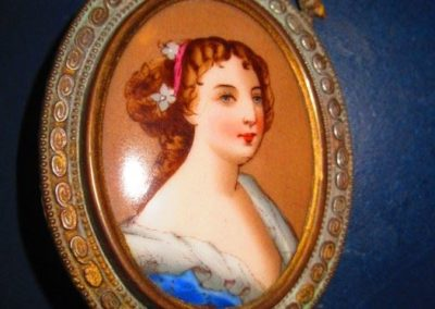 Miniature 19th century portrait of a French lady on porcelain