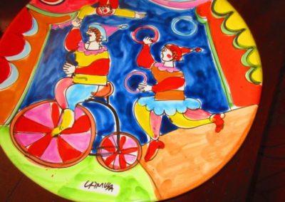 Whimsical circus motif ceramic platter
