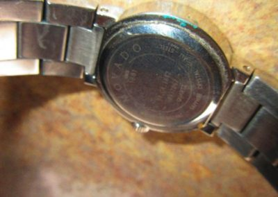 Verso of Movado watch