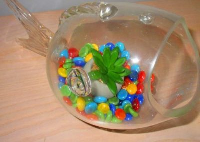 Blown glass fish planter