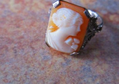 Cameo ring set in silver