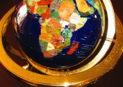 Table globe inlaid with semi-precious stones