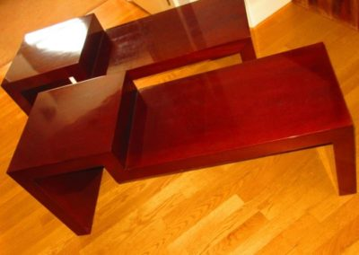 Pair of hardwood step tables