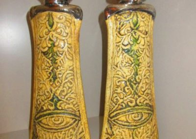Pair studio pottery candlesticks