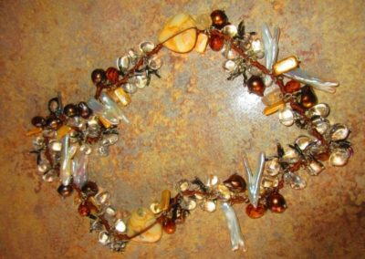 Artisan necklace of semi-precious stones Amber and Pearl