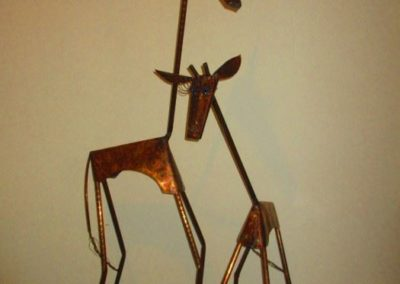 Large contemporary folk art giraffes