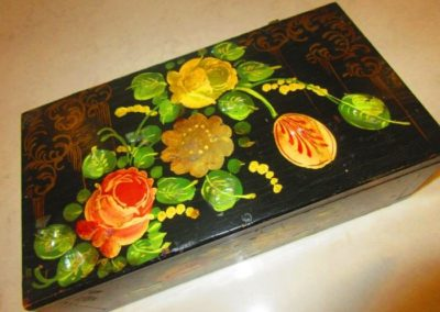 19th century hand-painted box with mother of pearl inlay
