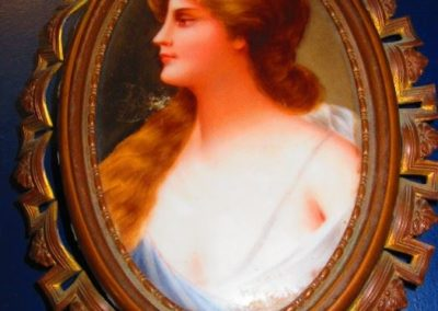 19th century miniature porcelain plaque in original frame