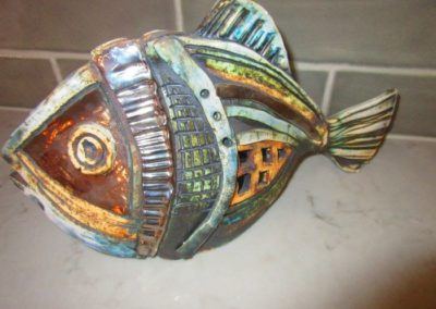 Raku fish sculpture