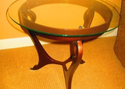 Contemporary iron and glass top side table