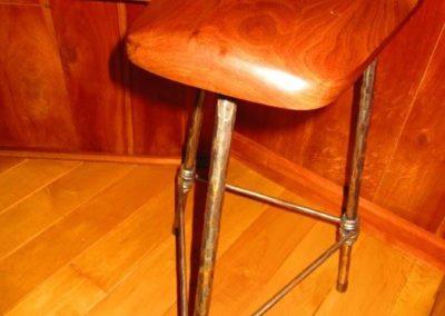 Artisan made iron and wood stool