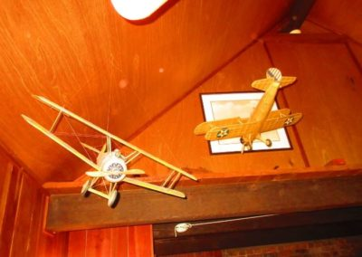 Handmade balsa wood models of airplanes