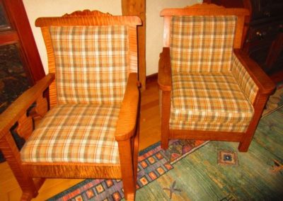 Arts and crafts style rocker and chair, and constructed from oak