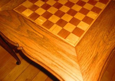 Handmade game table, oak and exotic woods