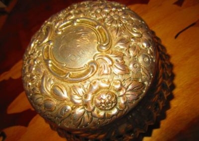 Large Sterling lidded jewelry box or casque