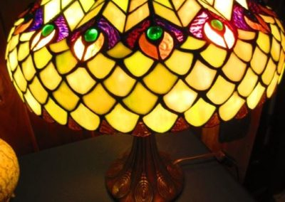 Tiffany style peacock feather lamp