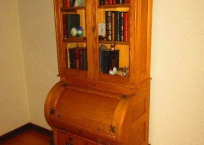 Oak barrel front secretary desk circa 1900