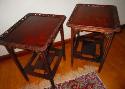 Pair of customized 1930s side tables