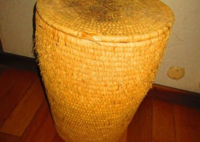 Large hand-woven basket with lid