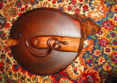 John T. Sharp, postwar contemporary artist, signed and dated 2002. Carved from a single trunk section