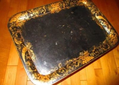 19th century tole tray on stand