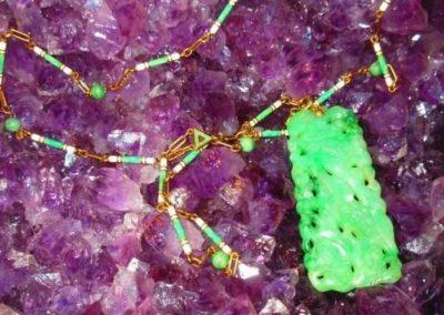 Carved Jadeite Jade pendant on enameled 14kt gold chain