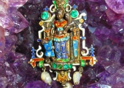 Enamel pendant with semi-precious stones and seed pearls